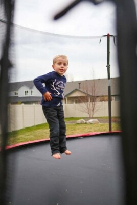 Blake jumping on a trampoline