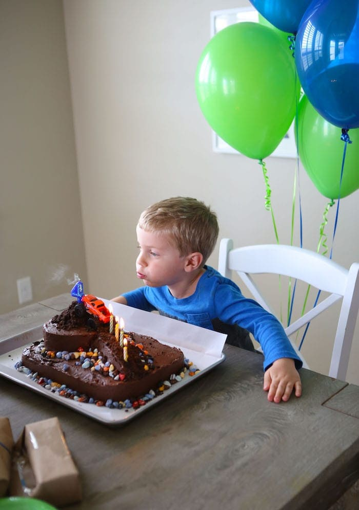 Blake blowing out the candles