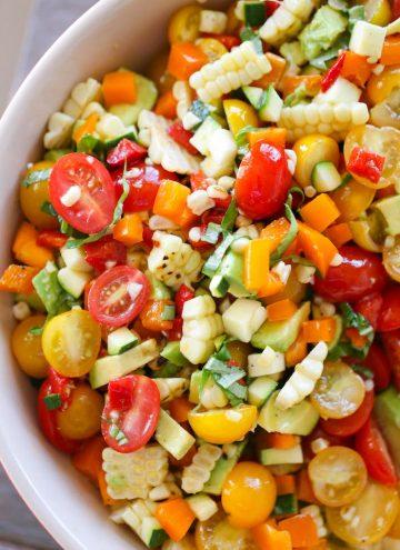 Summer Corn Avocado Basil Salad