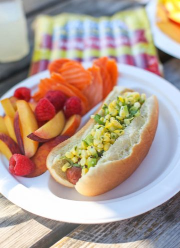 Mexican Corn Salad Hot Dogs