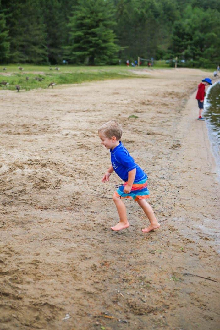 Blake running on shore