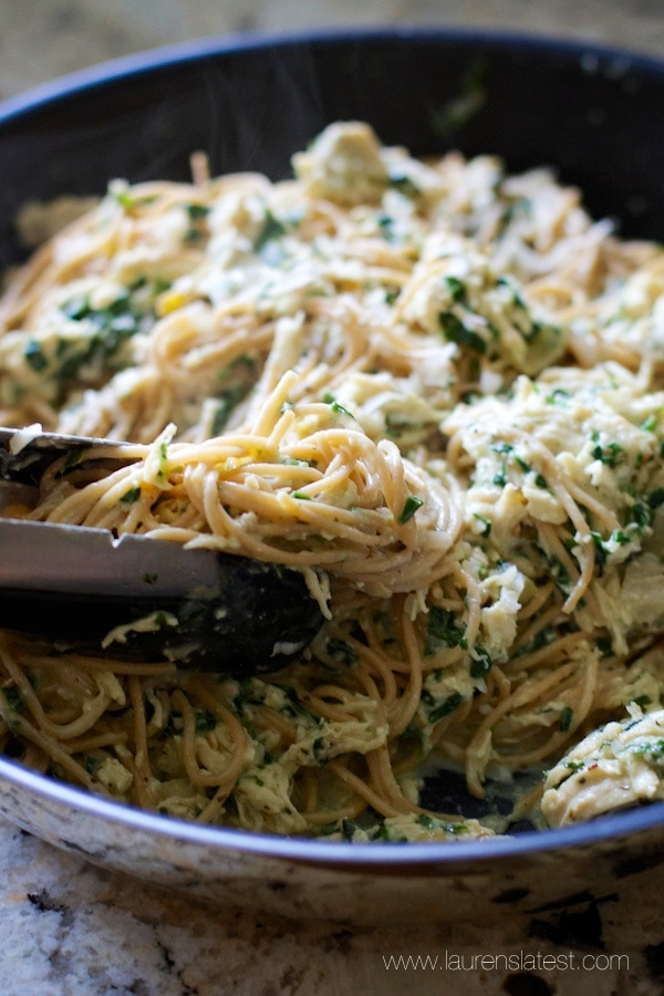 Garlic Chicken and Kale Spaghetti