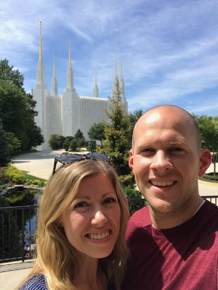 Lauren and Gordon in front of the DC Temple