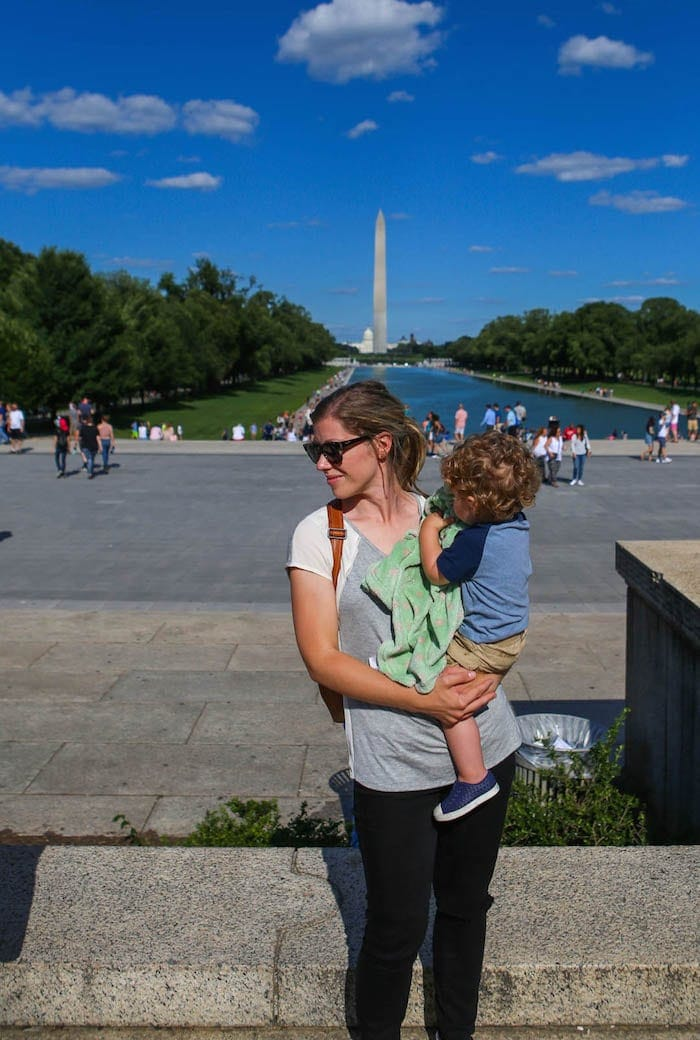 Lauren and Eddie in front of the Washington monument reflection pool