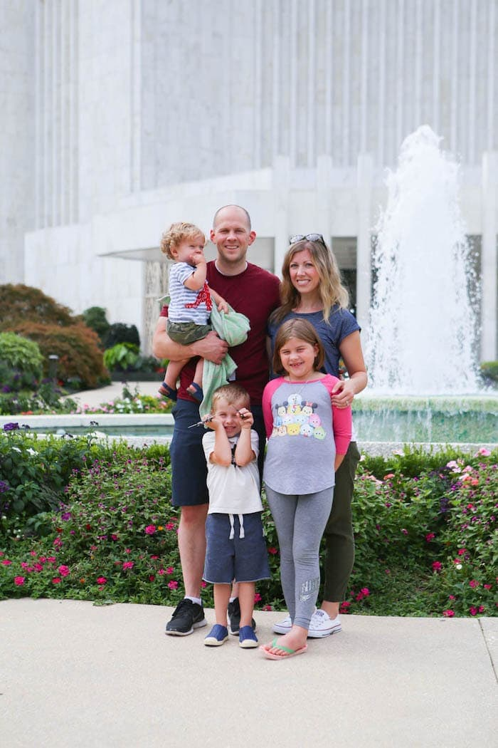 Brennan Family in front of the DC Temple