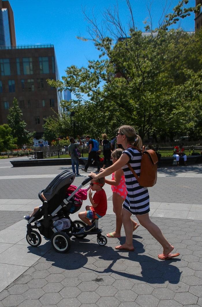Lauren and the kids walking