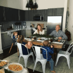 Brennan family sitting at the table