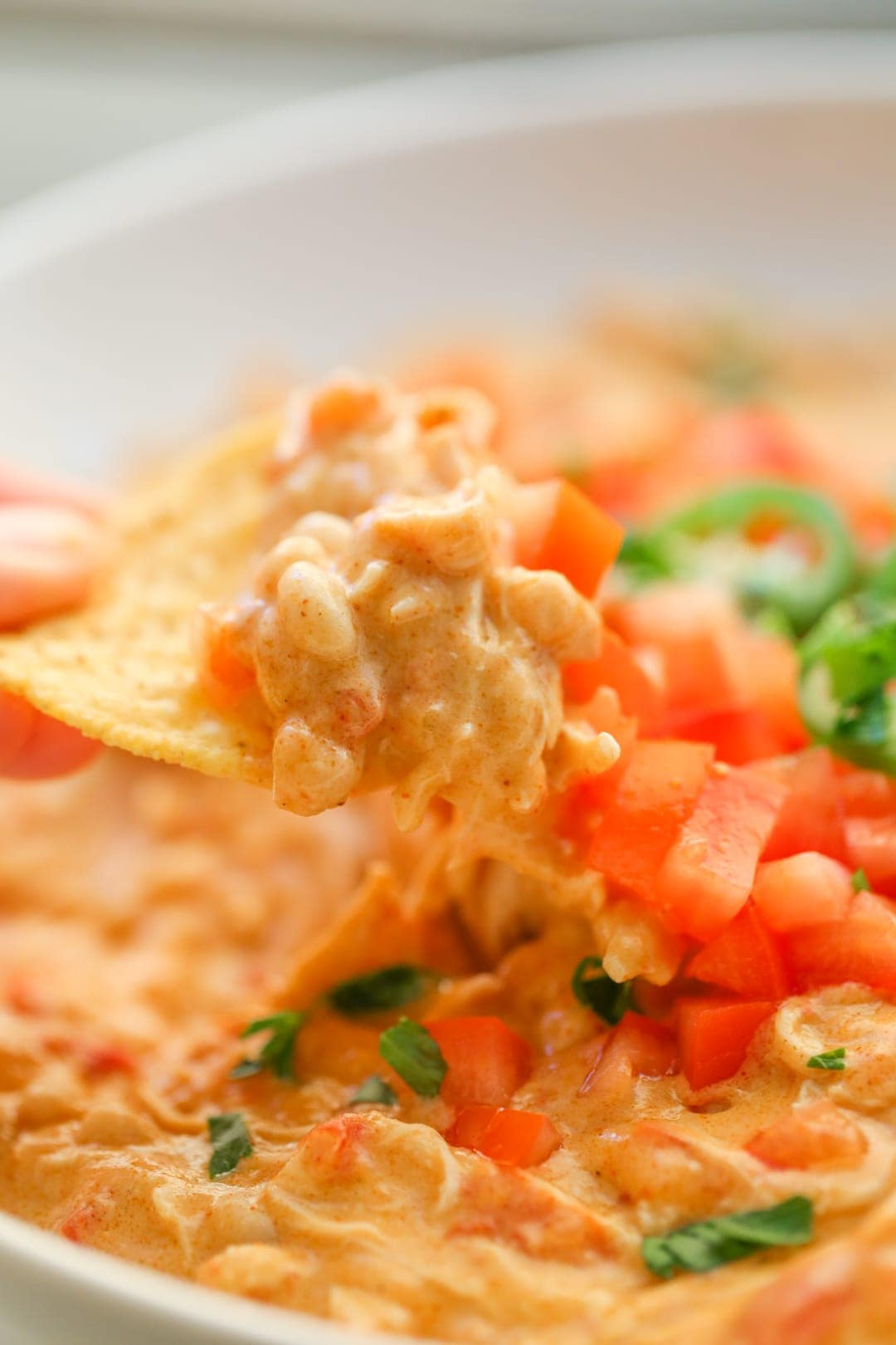 Chicken Nacho Dip on a chip