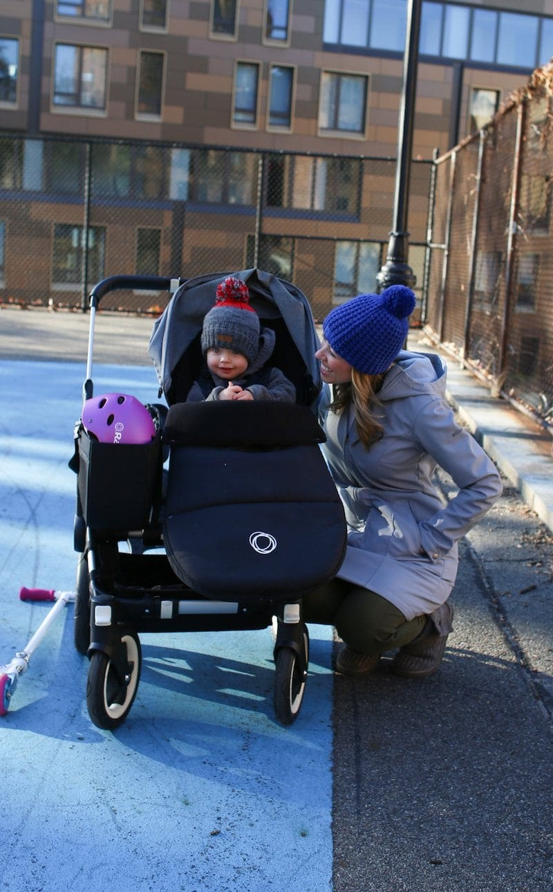 Lauren with Eddie in a stroller