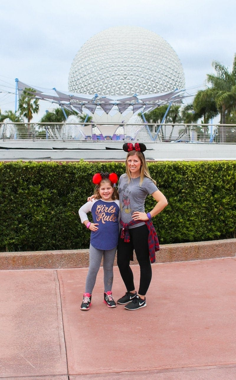 Lauren and Brooke in front of Epcot