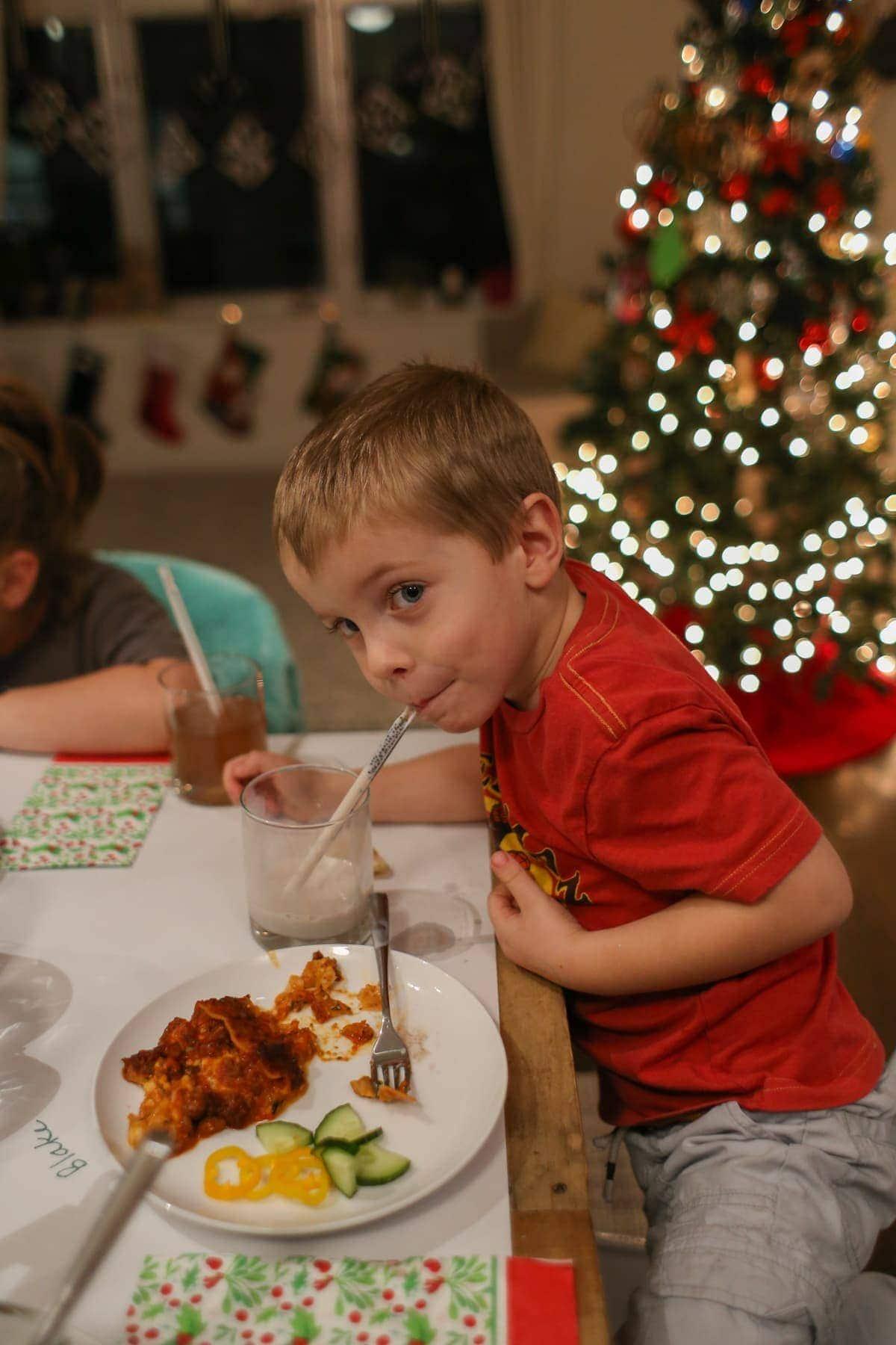 Blake eating Christmas day