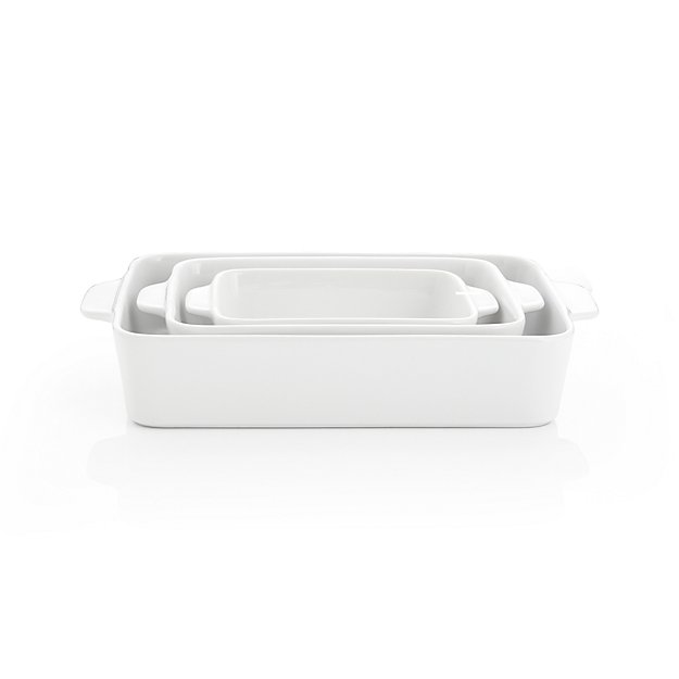 White Potluck Baking Dishes Set of Three
