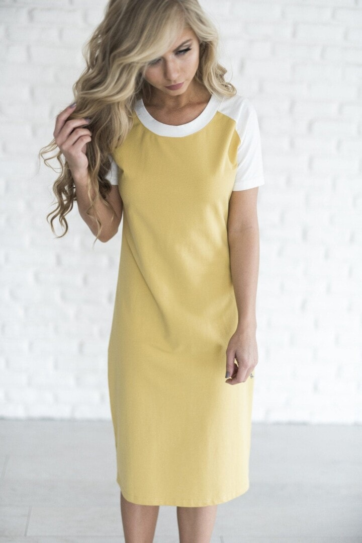 Baseball Dress - Mustard