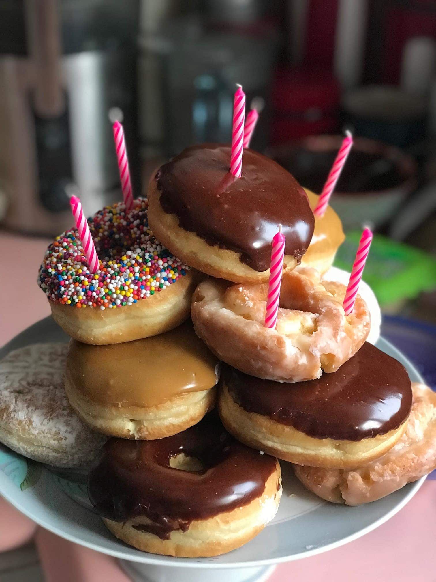 Donut pile with candles