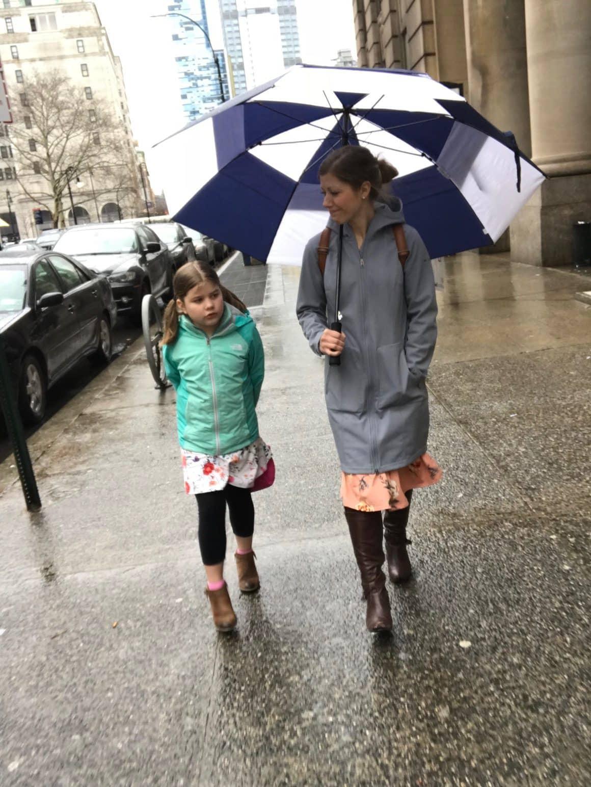 Lauren and Brooke in the rain