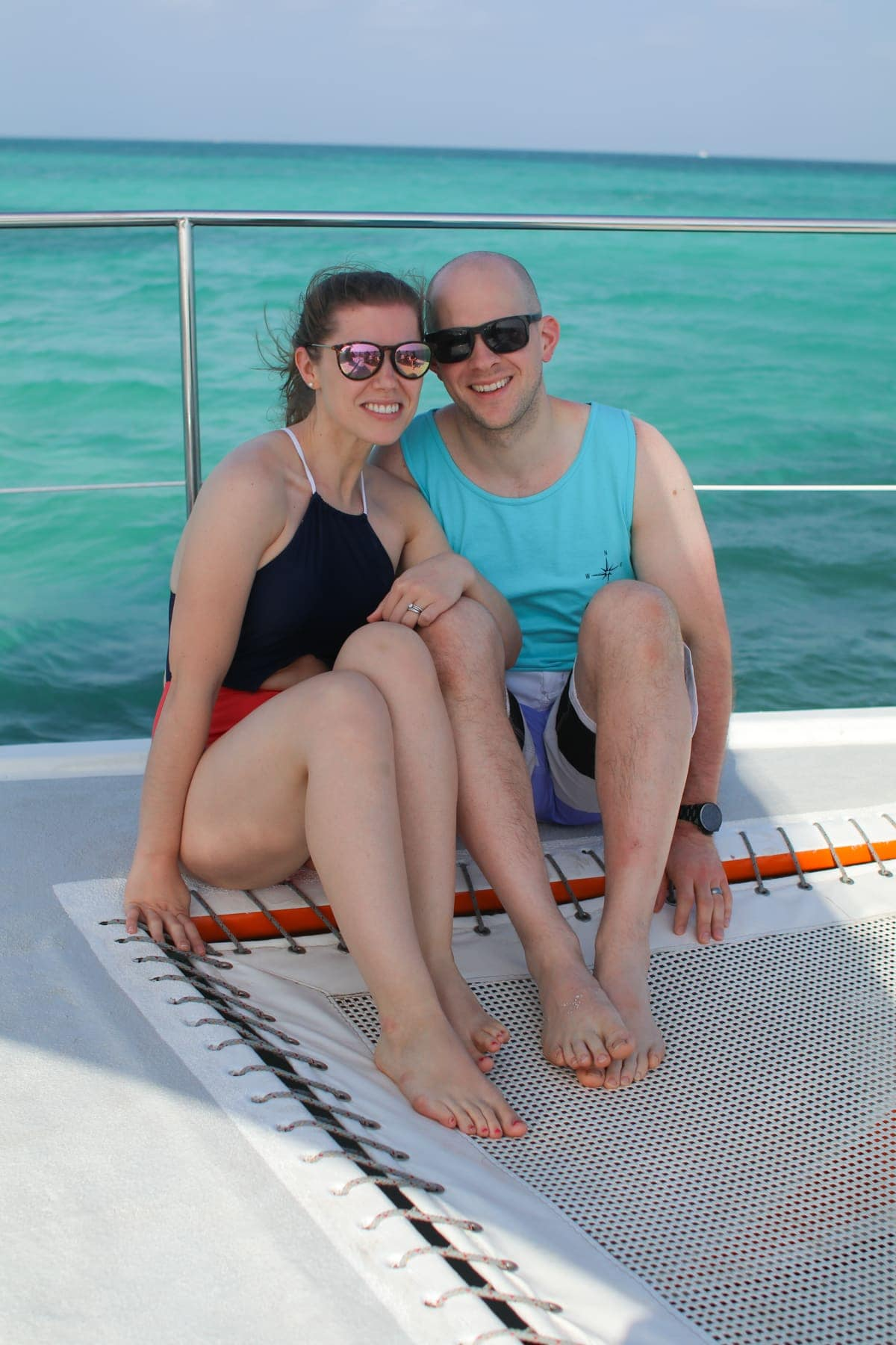 Lauren and Gordon on a boat