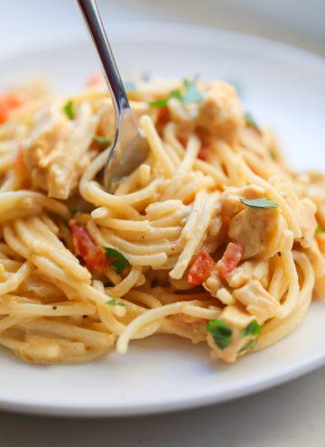 Stovetop Cheesy Chicken Spaghetti