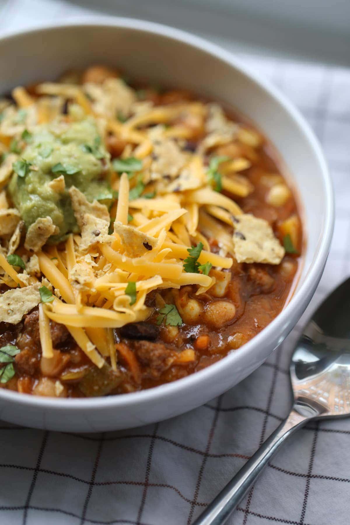 A bowl of Taco Soup