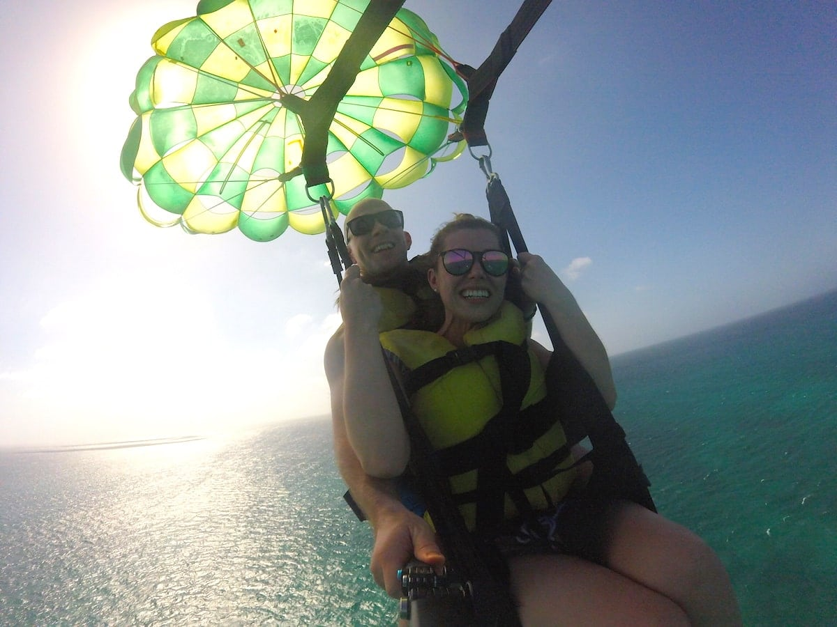 Lauren and Gordon parasailing