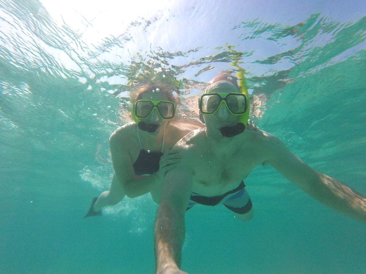 Lauren and Gordon snorkeling