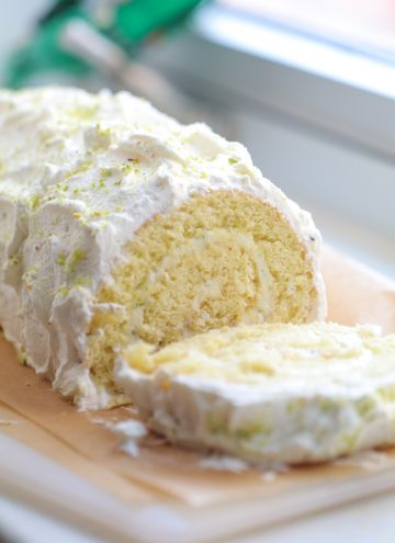 Lemon Pistachio Swiss Roll Cake