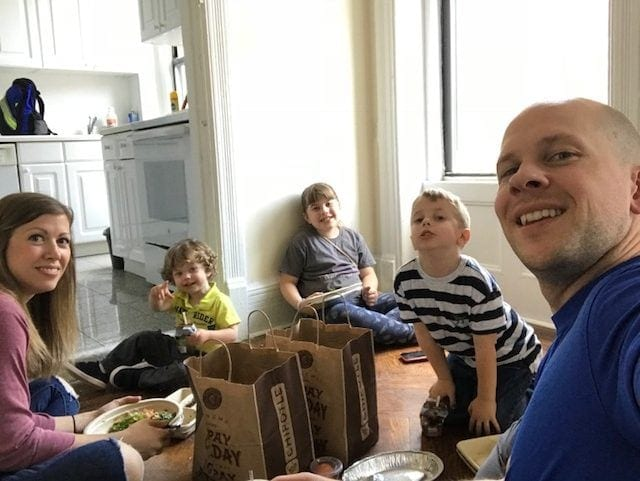 Gordon and the kids sitting on the floor