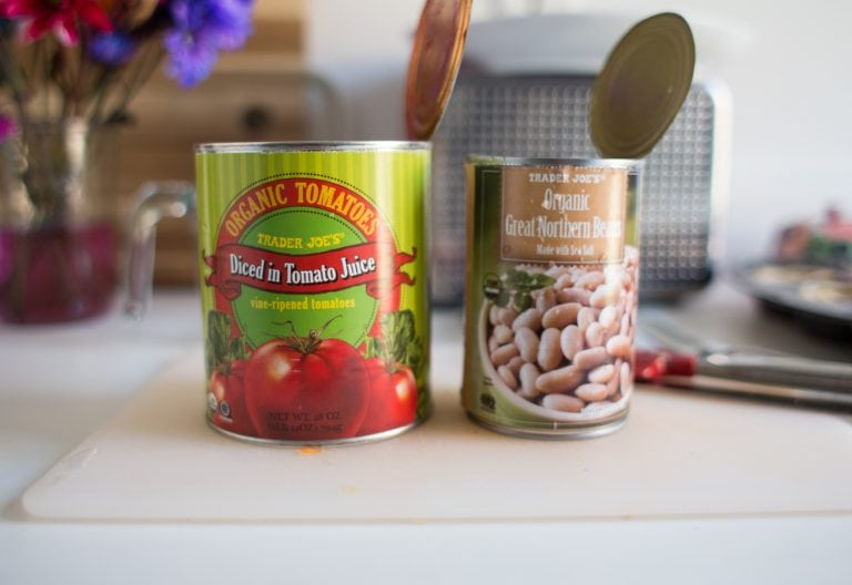 canned tomatoes and beans