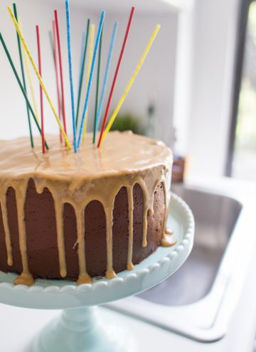 Chocolate Birthday Cake with Peanut Butter Glaze