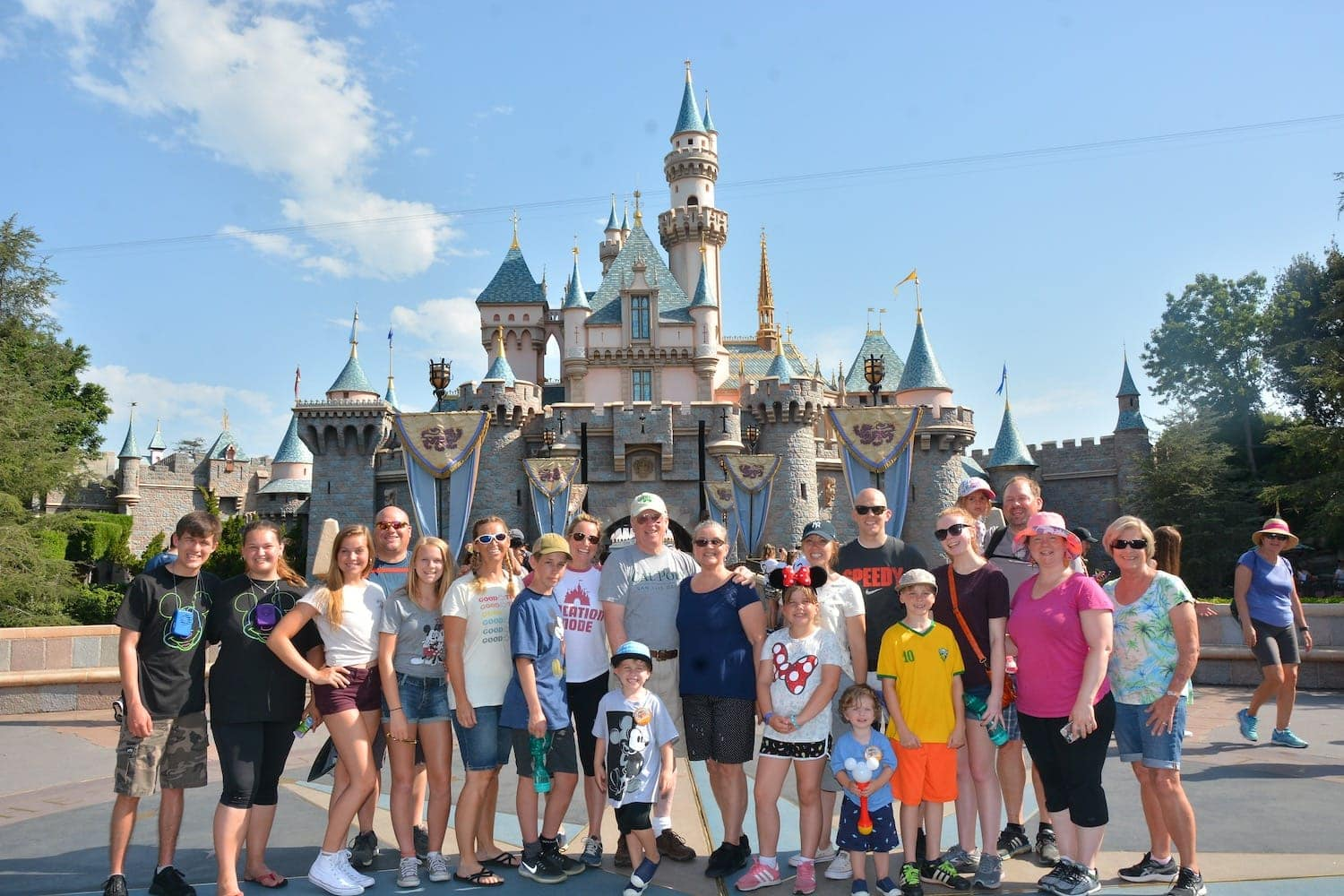 Group of people posing in front of Disneyland Castle