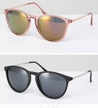Skinny Keyhole Retro Round Sunglasses in Pink and Black