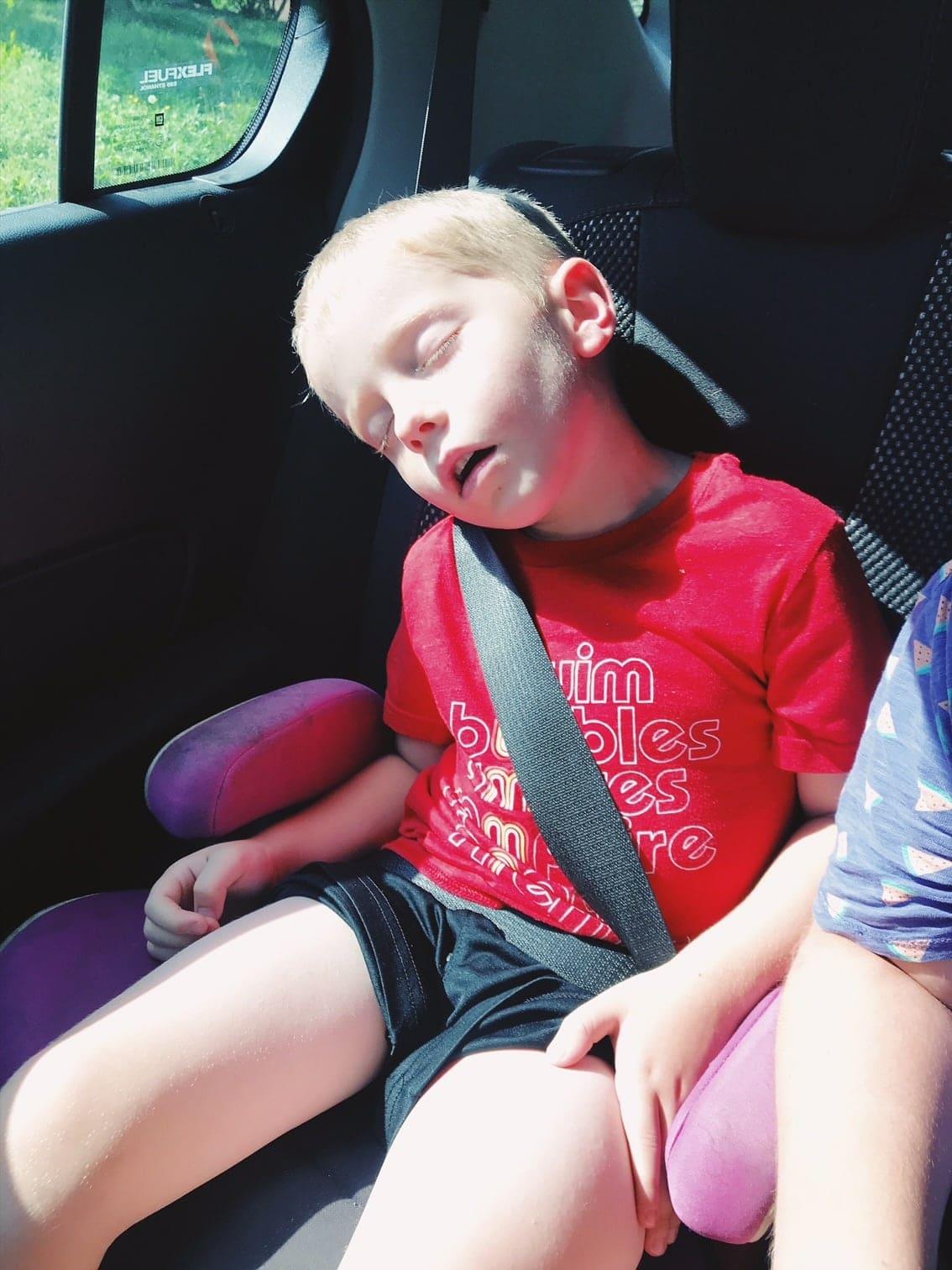 Blake sleeping in his carseat