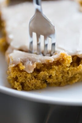 pumpkin bars with fork