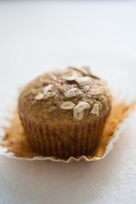 pumpkin muffin with cupcake paper liner removed