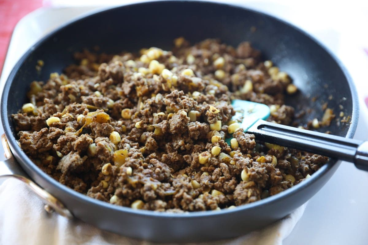 ground beef filling in skillet