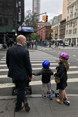 Gordon and the kids walking to church