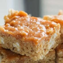 Peanut Butter Salted Caramel Rice Krispie Treats