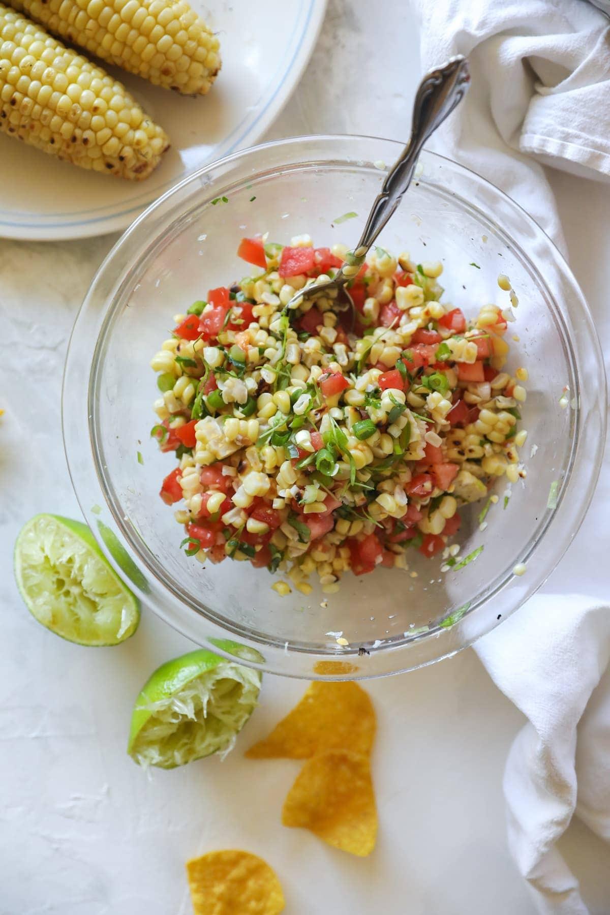 overhead corn salsa in bowl