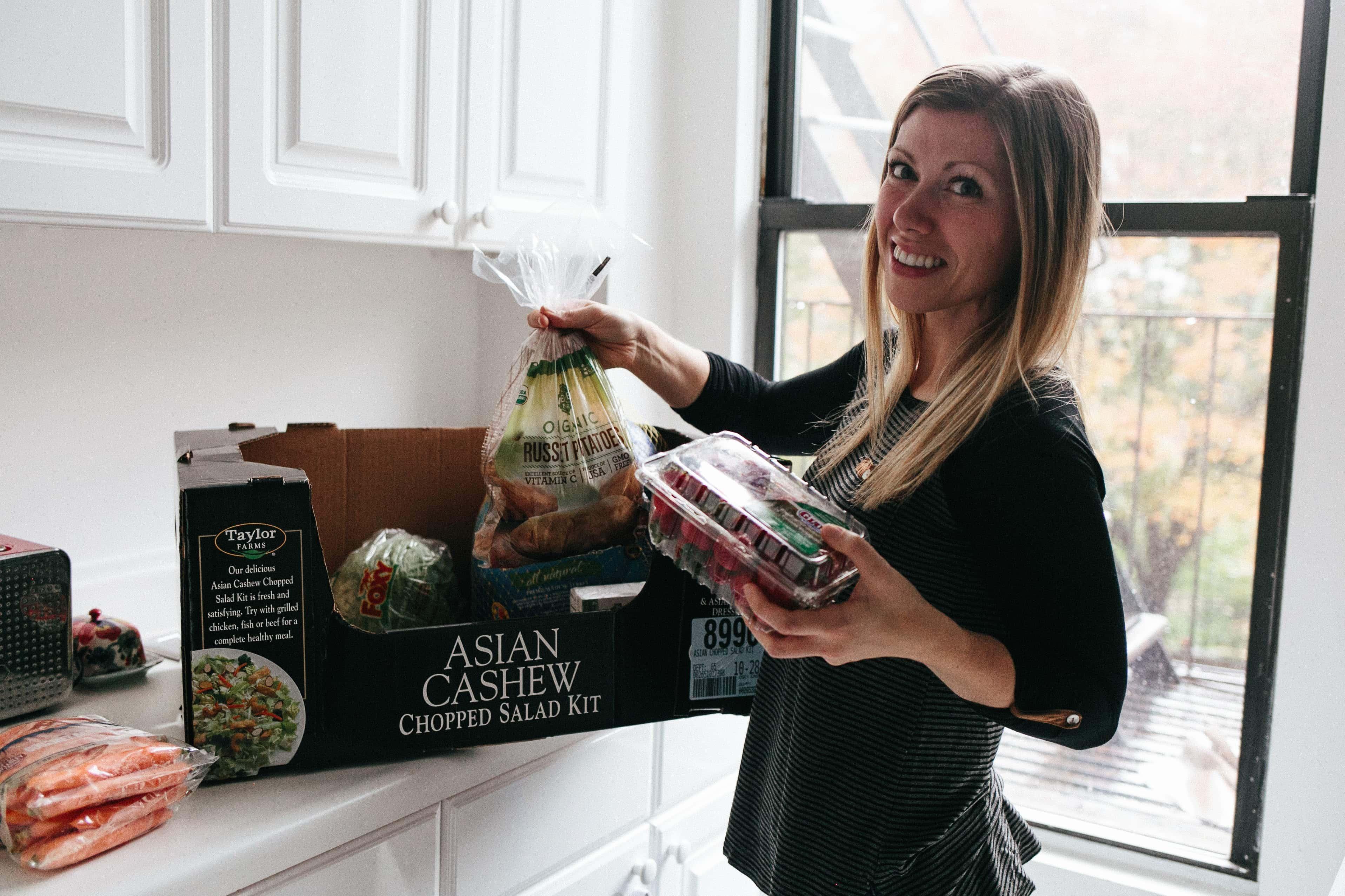 Lauren preparing groceries for Thanksgiving