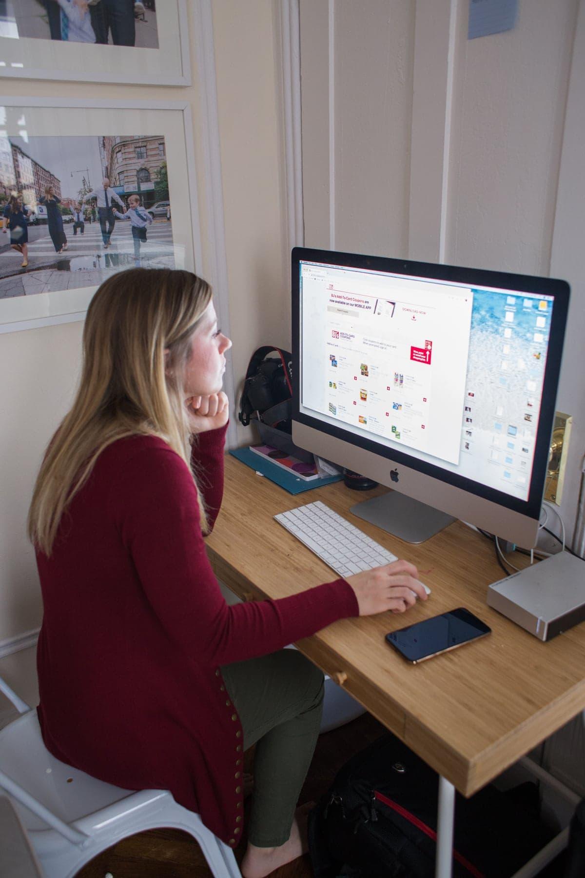 Lauren working on the computer