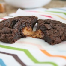 Salted Caramel Brownie Cookie split in half