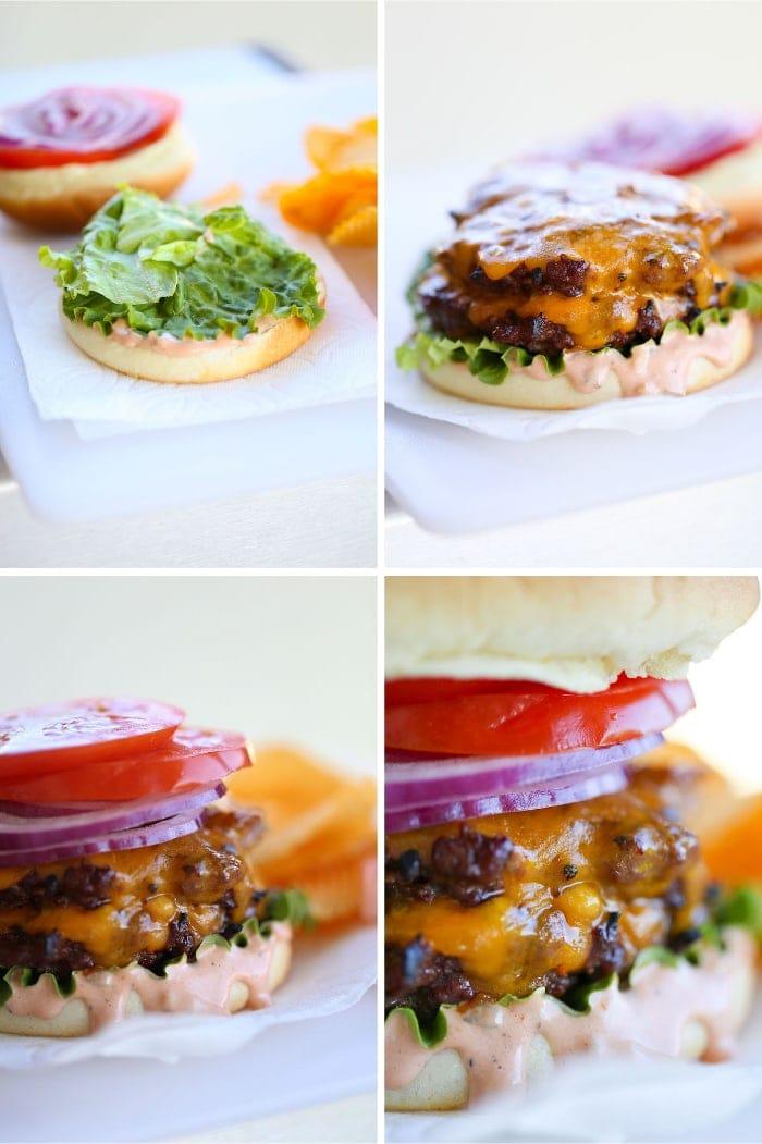 Assembling a burger