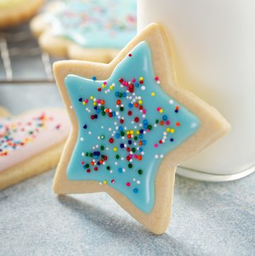 Close up of a sugar cookie with sprinkles