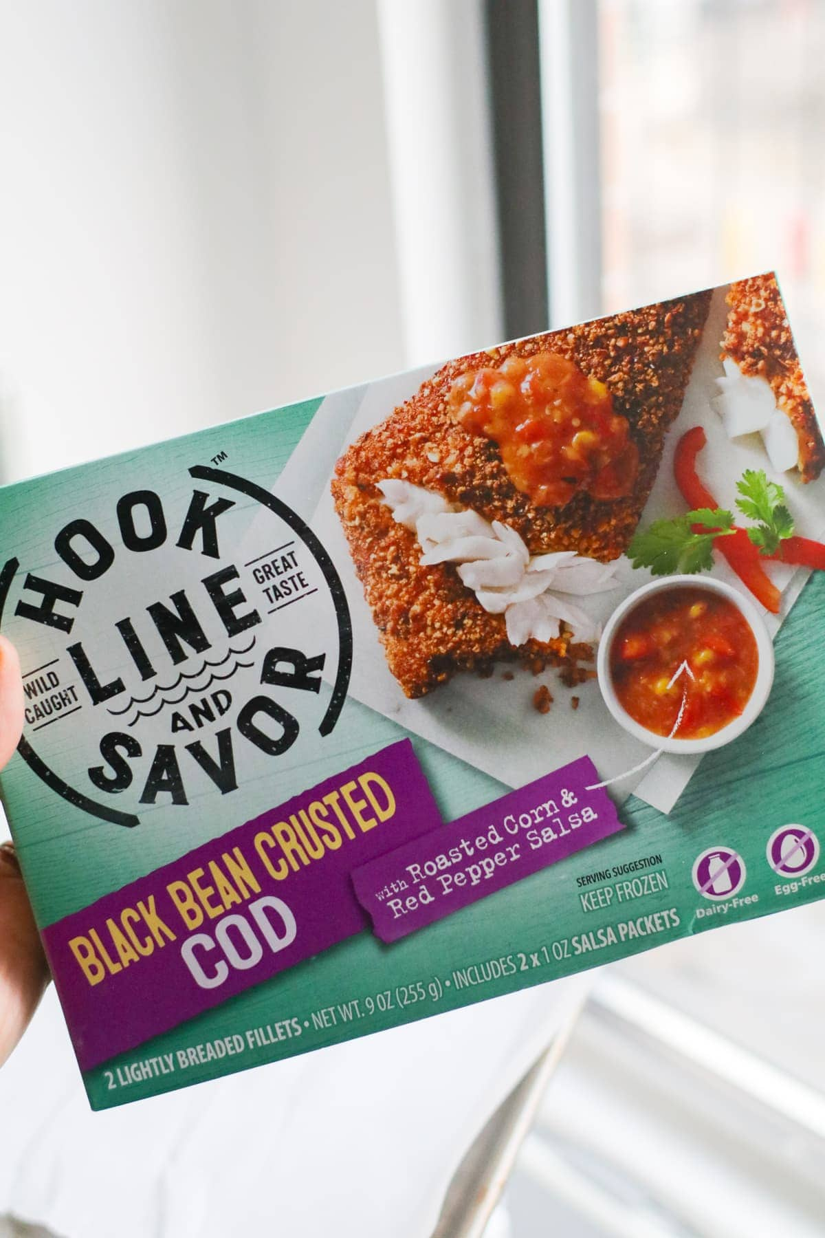 Hook Line and Savor boxed frozen black bean encrusted cod