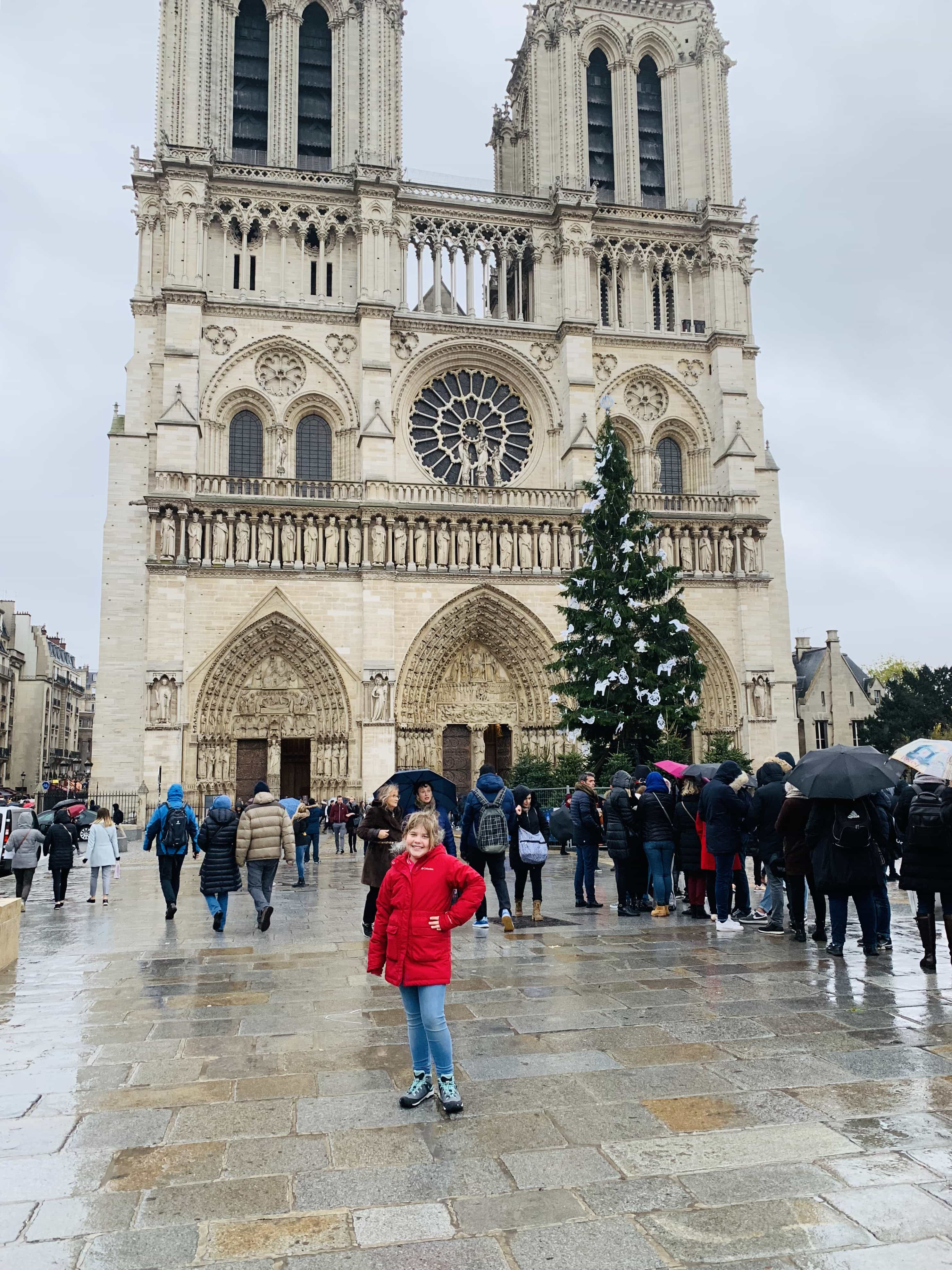 A group of people walking in front of Notre Dame de Paris