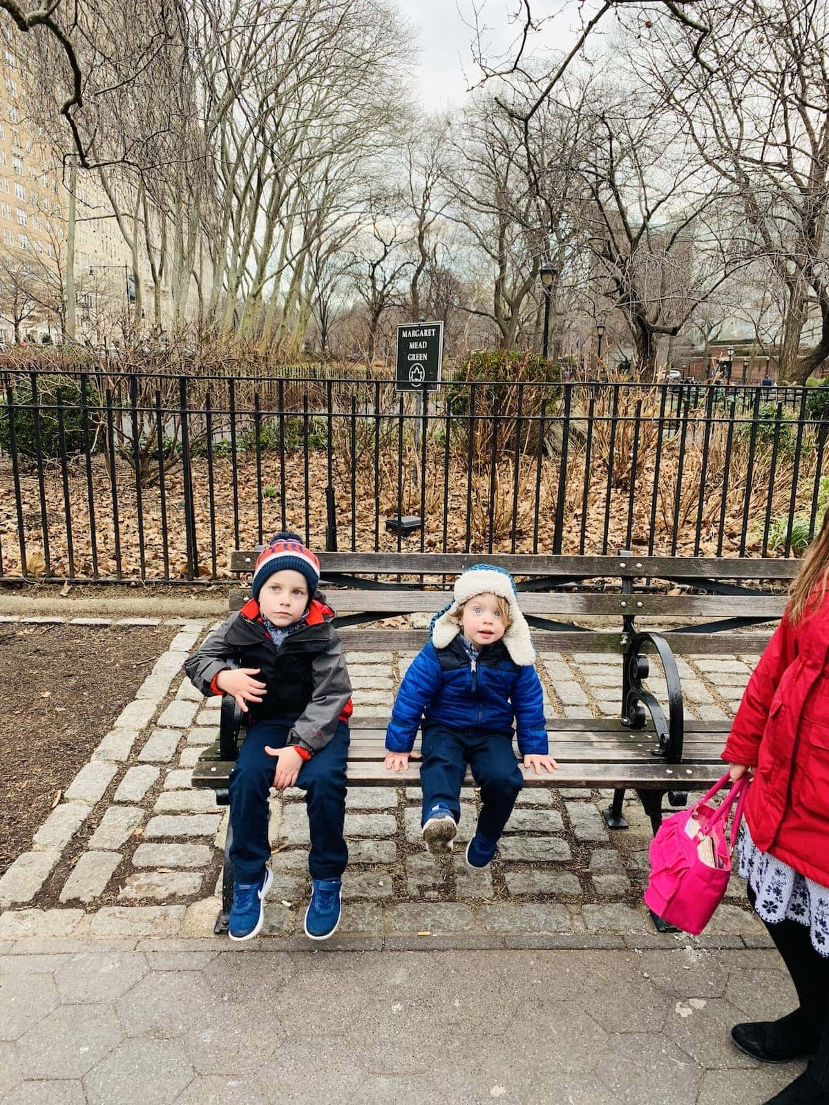 Blake and Eddie sitting on a bench