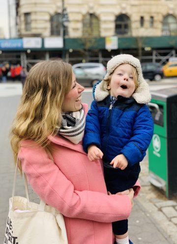 Lauren holding Eddie outside