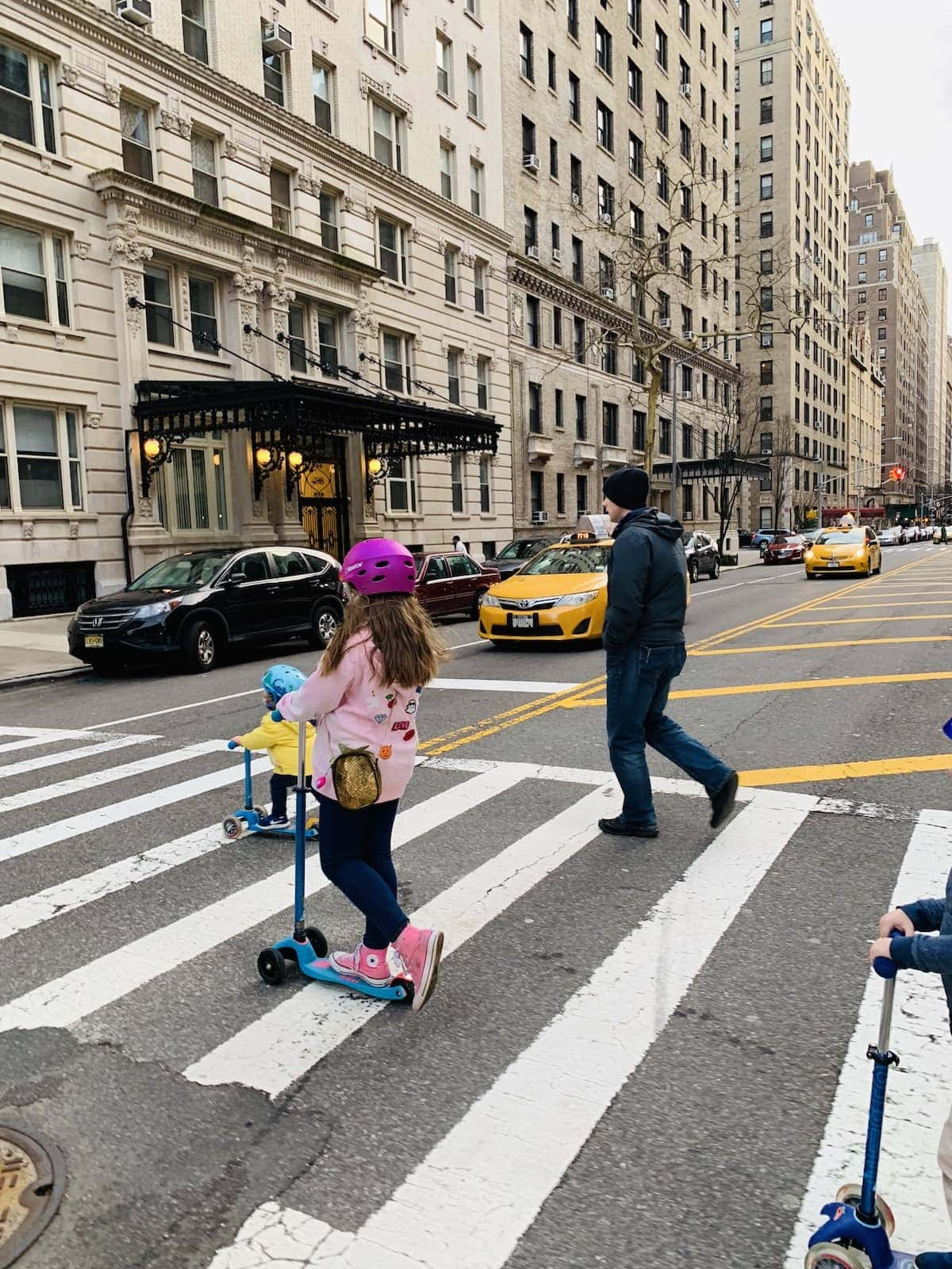 Gordon and the kids crossing the street