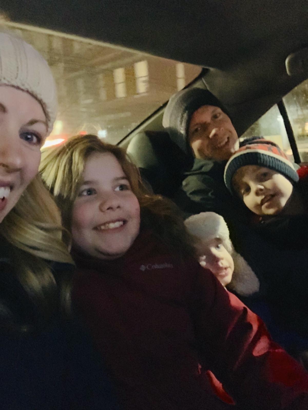 Brennan family in the car