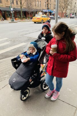 The kids in the stroller