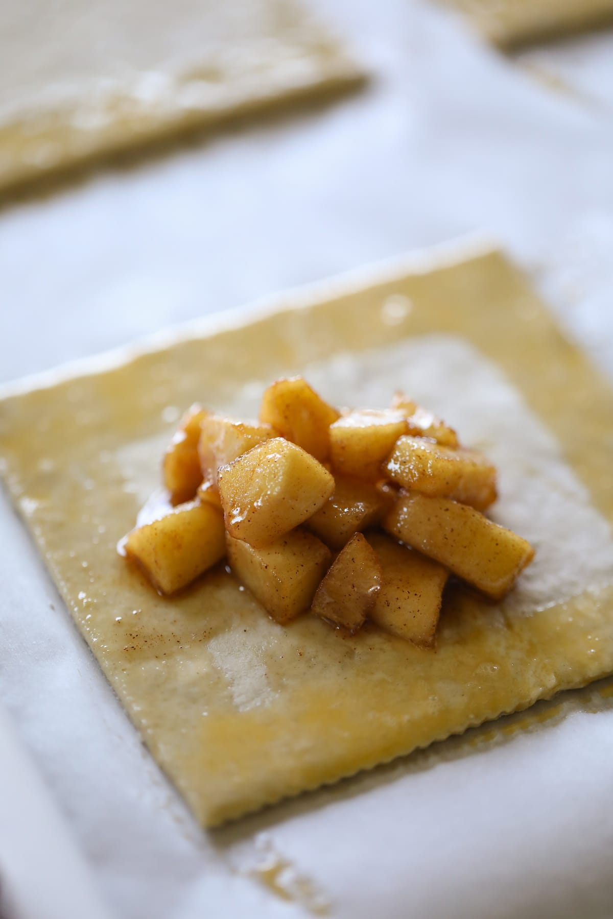 apple filling on puff pastry